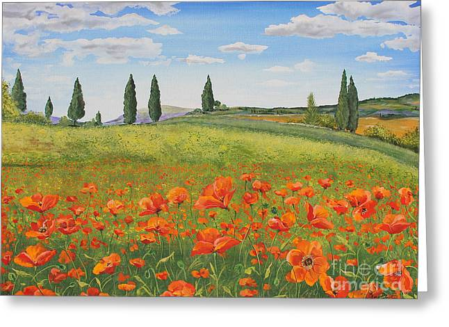 Tuscan Hills Greeting Cards - Tuscan Poppies-B Greeting Card by Jean Plout