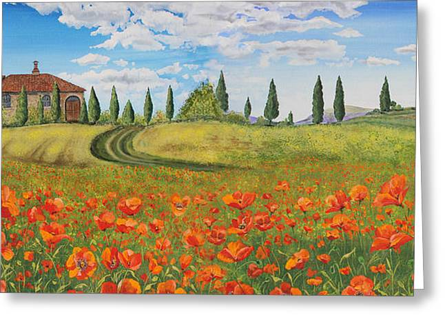 Tuscan Hills Greeting Cards - Tuscan Poppies-JP1968 Greeting Card by Jean Plout