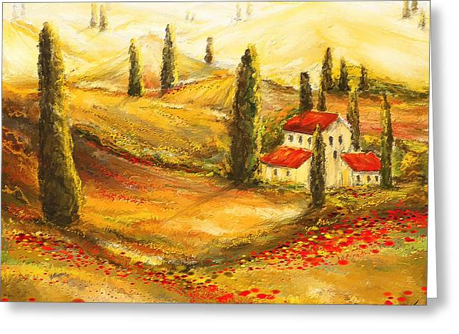 Red Farmhouse Greeting Cards - Tuscan Poppies - Tuscan Poppy Fields Impressionist Greeting Card by Lourry Legarde