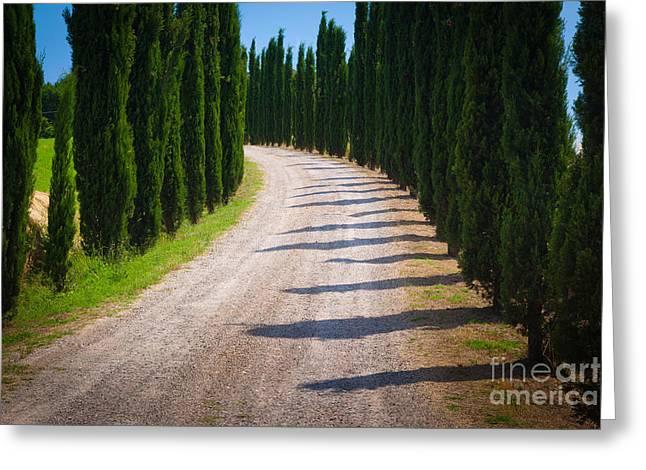 Montalcino Greeting Cards - Tuscan Road Greeting Card by Inge Johnsson