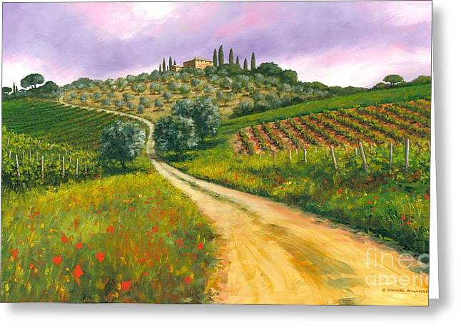 Michael Swanson Greeting Cards - Tuscan road Greeting Card by Michael Swanson