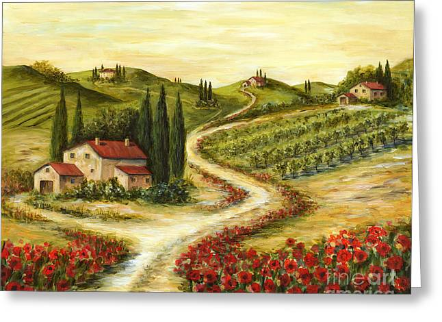 Tuscany Greeting Cards - Tuscan road With Poppies Greeting Card by Marilyn Dunlap