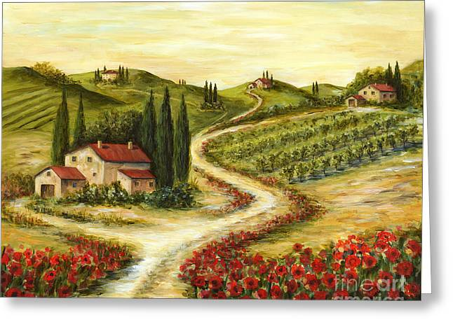 Tuscan Road With Poppies Greeting Card by Marilyn Dunlap