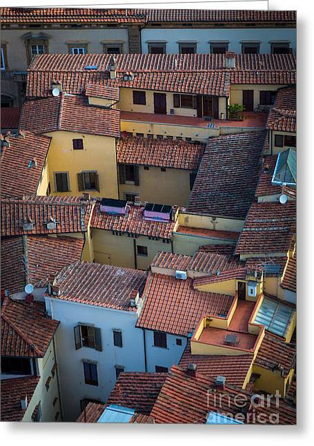 Rooftop Photographs Greeting Cards - Tuscan Rooftops Greeting Card by Inge Johnsson
