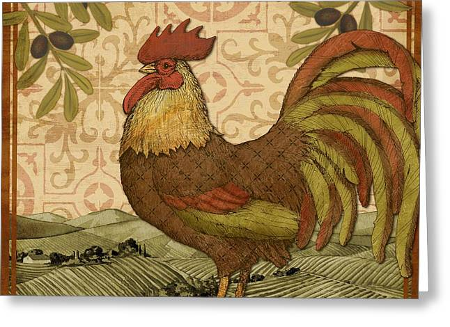 Roosters Greeting Cards - Tuscan Rooster I Square Greeting Card by Paul Brent