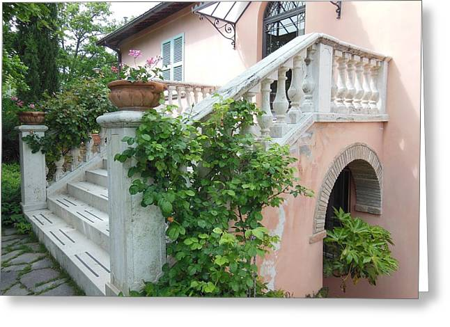 Montepulciano Greeting Cards - Tuscan Staircase With Flowers Greeting Card by Marilyn Dunlap