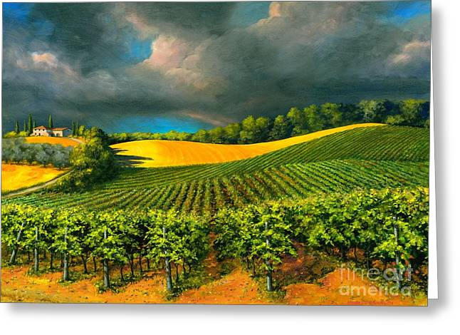 Grape Vines Paintings Greeting Cards - Tuscan Storm Greeting Card by Michael Swanson