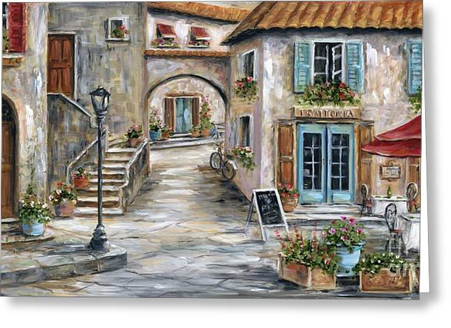 Italian Cafe Greeting Cards - Tuscan Street Scene Greeting Card by Marilyn Dunlap