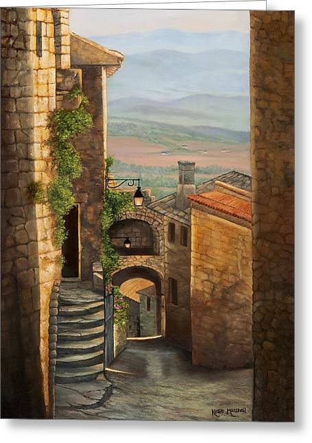 Wine Scene Greeting Cards - Tuscan streets Greeting Card by Kellie Marshall