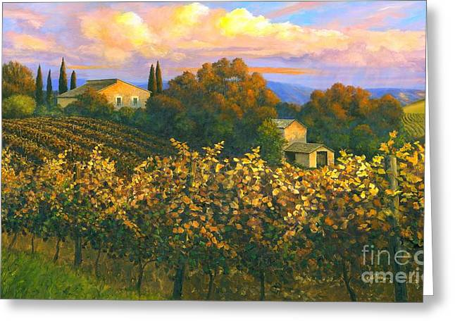 Tuscan Sunset Greeting Cards - Tuscan Sunset 36 x 60 - SOLD Greeting Card by Michael Swanson