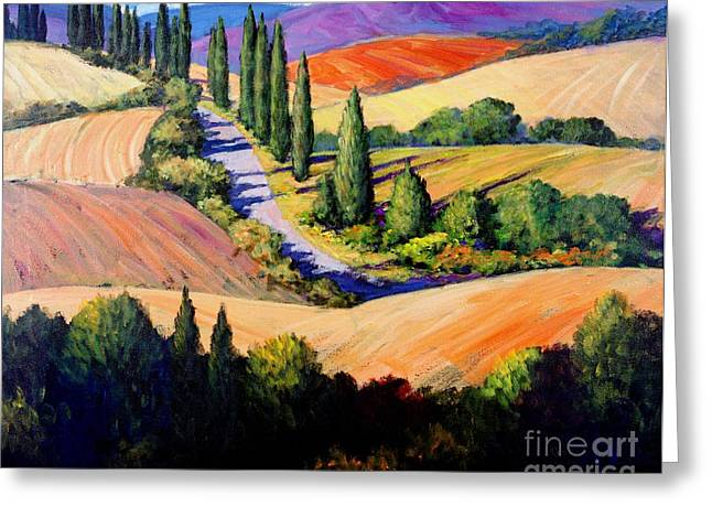 Grape Vines Paintings Greeting Cards - Tuscan Trail Greeting Card by Michael Swanson