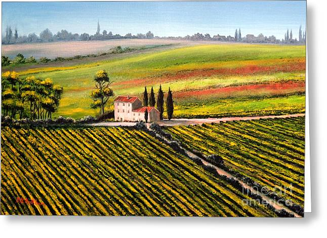 Vineyard Art Greeting Cards - Tuscan Tranquillity Greeting Card by Bill Holkham