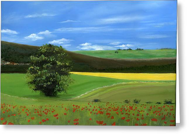 Tuscan Hills Paintings Greeting Cards - Tuscan Tree with Poppy Field Greeting Card by Cecilia  Brendel
