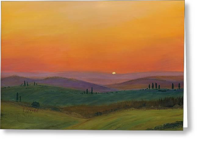 Cecilia Brendel Greeting Cards - Tuscan Twilight 1 Greeting Card by Cecilia  Brendel