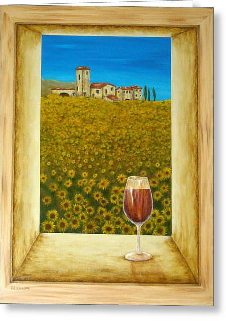 Farm Mixed Media Greeting Cards - Tuscan View Greeting Card by Pamela Allegretto