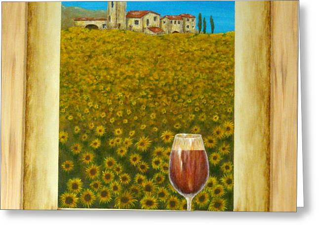 Tuscan View Greeting Card by Pamela Allegretto