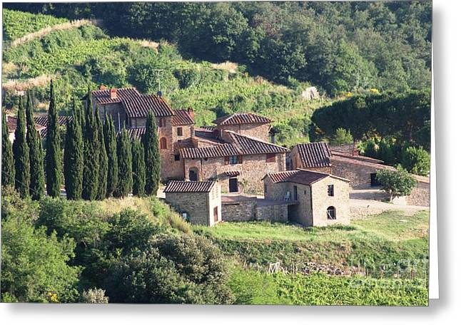 Chianti Greeting Cards - Tuscan Villa Greeting Card by George Tocquigny
