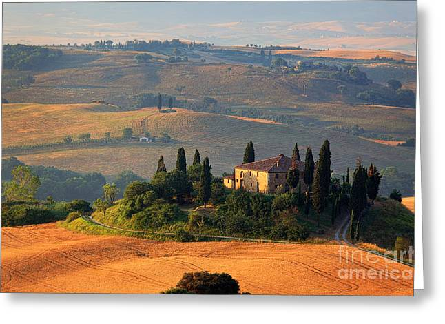 Rural Scenery Greeting Cards - Tuscan Villa Greeting Card by Inge Johnsson