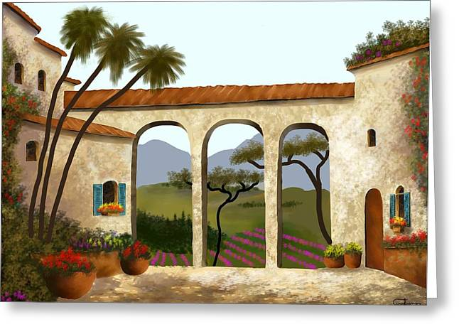 Tuscan Villa Of Beauty  Greeting Card by Larry Cirigliano
