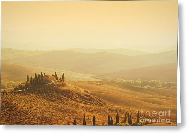Tuscan Sunset Greeting Cards - Tuscan villa sunrise Greeting Card by IPics Photography