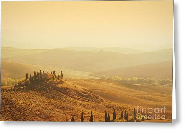Italian Sunset Greeting Cards - Tuscan villa sunrise Greeting Card by IPics Photography
