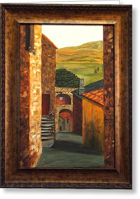 Sienna Italy Greeting Cards - Tuscan Village  Greeting Card by Gino Didio