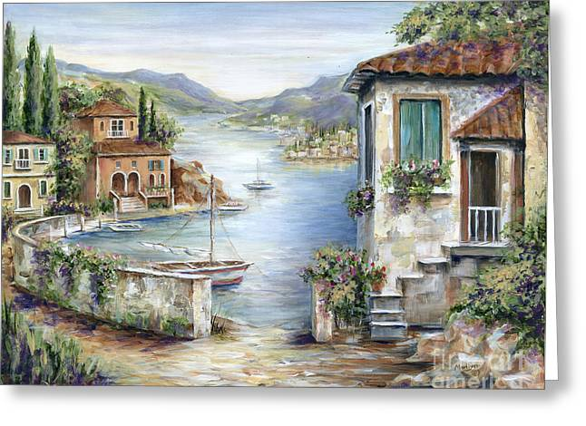 Villa Paintings Greeting Cards - Tuscan Villas By The Lake Greeting Card by Marilyn Dunlap