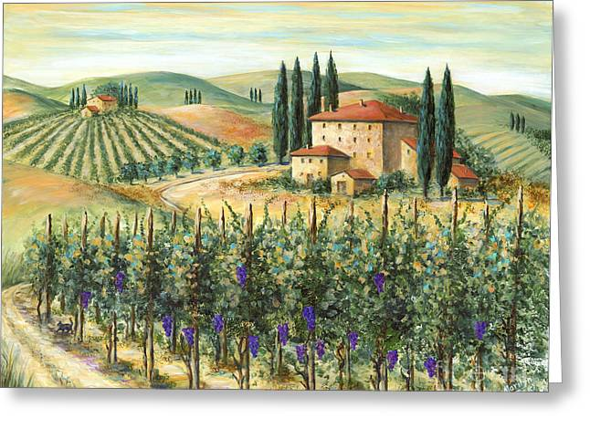 Cypress Greeting Cards - Tuscan Vineyard and Villa Greeting Card by Marilyn Dunlap
