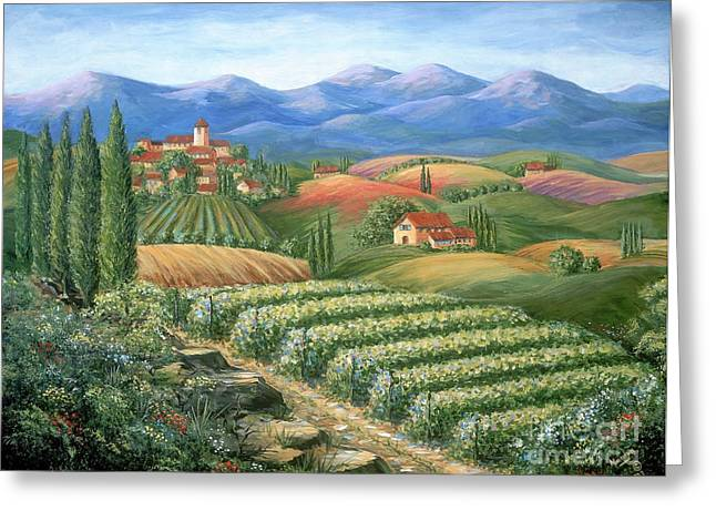 Hills Greeting Cards - Tuscan Vineyard and Village  Greeting Card by Marilyn Dunlap