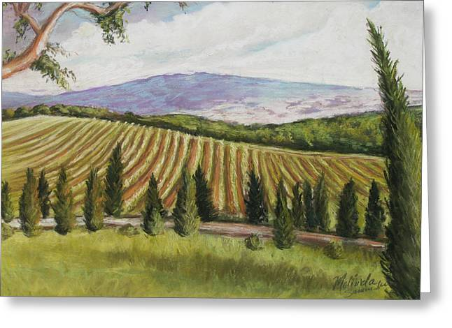 Chianti Greeting Cards - Tuscan Vineyard Greeting Card by Melinda Saminski