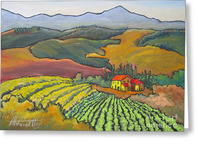 Italian Wine Greeting Cards - Tuscan Vineyard Greeting Card by Mohamed Hirji
