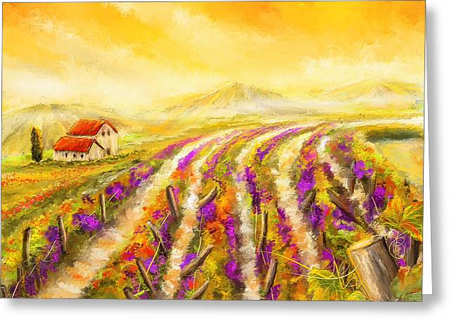 Bread And Wine Art Greeting Cards - Tuscan Vineyard Sunset - Vineyard Impressionist Paintings Greeting Card by Lourry Legarde