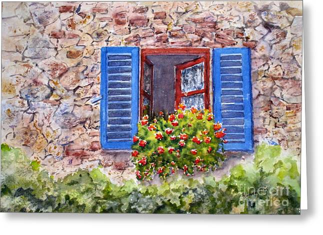 Historic Home Paintings Greeting Cards - Tuscan Window Greeting Card by Mohamed Hirji