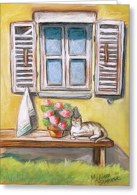 Italian Landscape Pastels Greeting Cards - Tuscan Window with Cat Greeting Card by Melinda Saminski