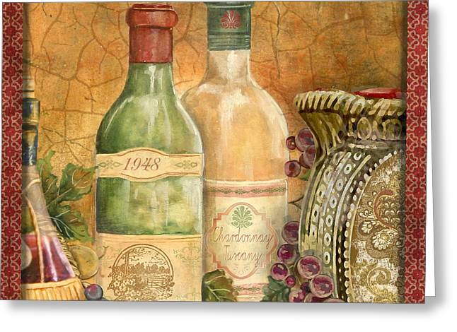 Grape Leaves Greeting Cards - Tuscan Wine-A Greeting Card by Jean Plout