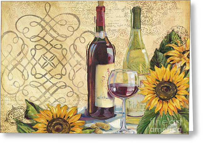 Cabernet Sauvignon Greeting Cards - Tuscan Wine and Sunflowers Greeting Card by Paul Brent