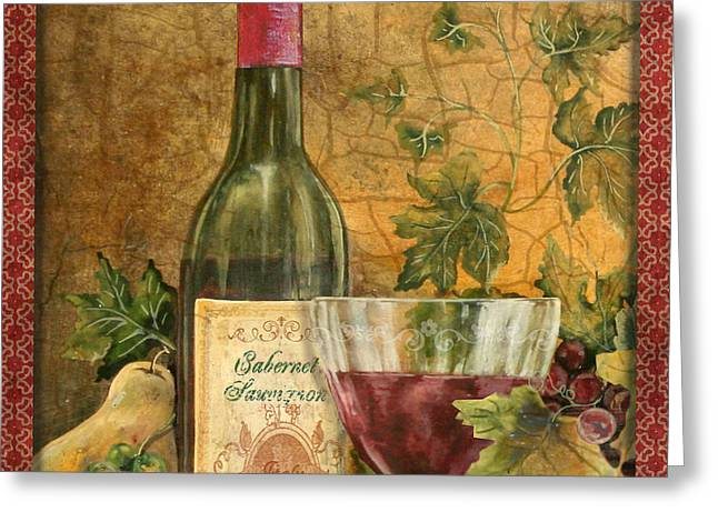 Grape Leaves Greeting Cards - Tuscan Wine-B Greeting Card by Jean Plout