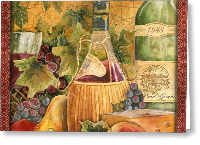 Grape Leaves Greeting Cards - Tuscan Wine-C Greeting Card by Jean Plout