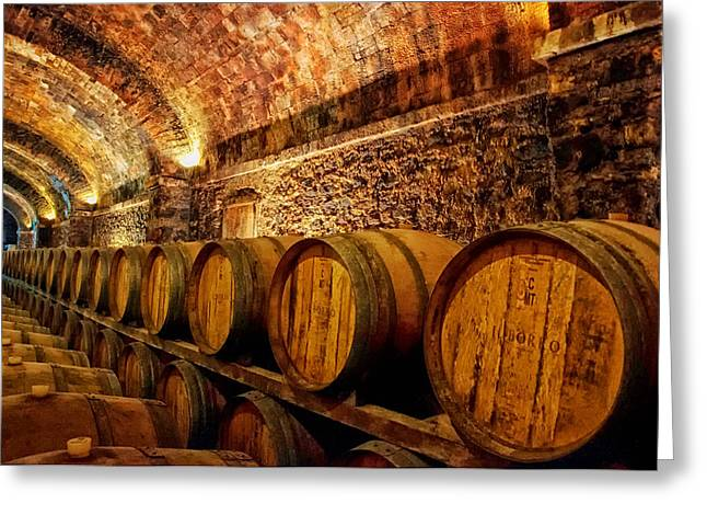 Italian Wine Photographs Greeting Cards - Tuscan Wine Cellar  Greeting Card by Mountain Dreams