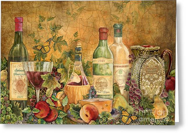 Original Acrylic Greeting Cards - Tuscan Wine Treasures Greeting Card by Jean Plout