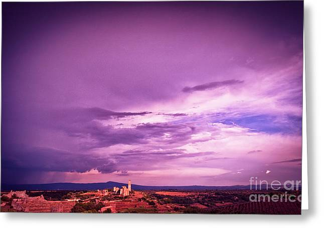 Approaching Storm Greeting Cards - Tuscania village with approaching storm  Italy Greeting Card by Silvia Ganora