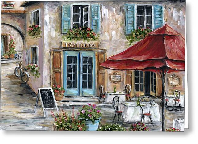 Italian Tuscan Greeting Cards - Tuscan Trattoria Greeting Card by Marilyn Dunlap