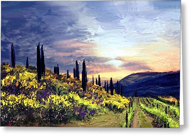Wine Deco Art Digital Art Greeting Cards - Tuscany 2  Greeting Card by Angie Braun