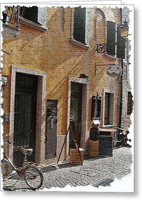 Bicycling Tuscany Greeting Cards - Tuscany 2 Greeting Card by Rebecca Cozart