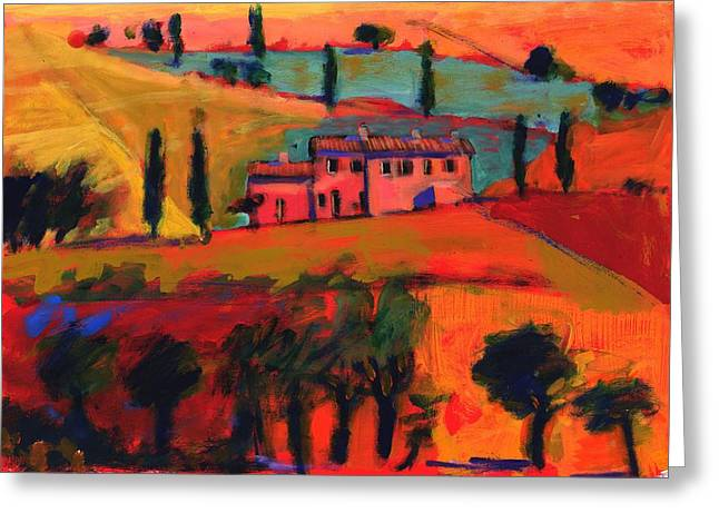 Italian Tuscan Greeting Cards - Tuscany, 2008 Acrylic On Board Greeting Card by Paul Powis