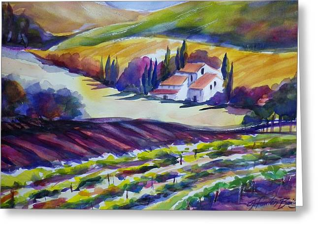 Therese Fowler-bailey Greeting Cards - Tuscany Ambers Greeting Card by Therese Fowler-Bailey