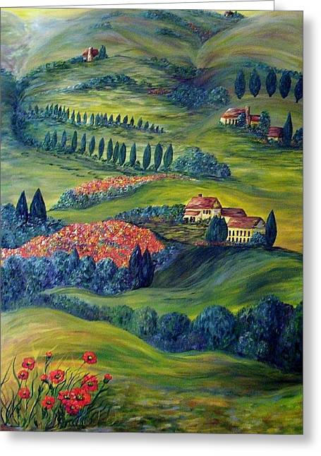 Sky Greeting Cards - Tuscany at Dawn Greeting Card by Eloise Schneider