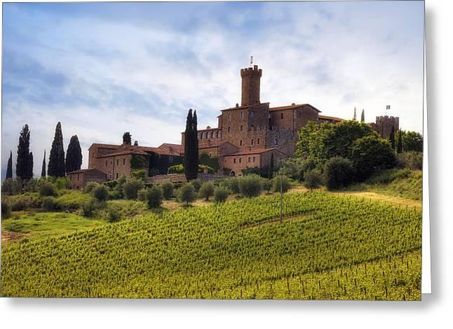 Brunello Greeting Cards - Tuscany- Castello di Poggio alla Mura Greeting Card by Joana Kruse