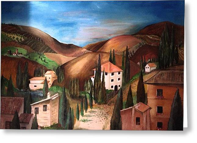 Italian Landscapes Reliefs Greeting Cards - Tuscany Greeting Card by Catherine Visconte