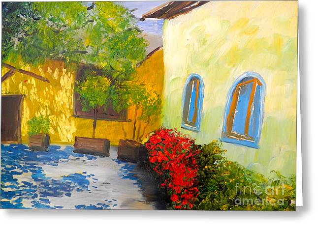 Tuscany Courtyard 2 Greeting Card by Pamela  Meredith